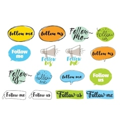 Follow me follow us labels design vector