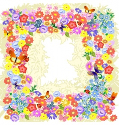 frame flower romantic vector image