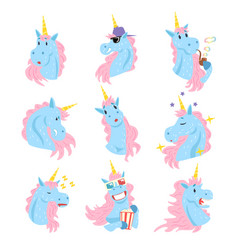 funny unicorn characters with different emotions vector image