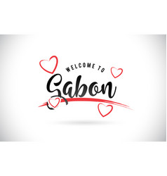 gabon welcome to word text with handwritten font vector image