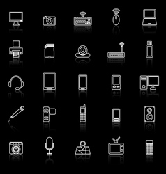 Gadget line icons with reflect on black vector image