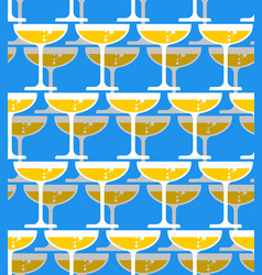 glass of champagne seamless pattern alcohol in vector image