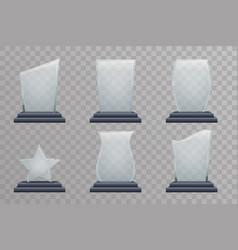 glass trophy award decoration design elements vector image