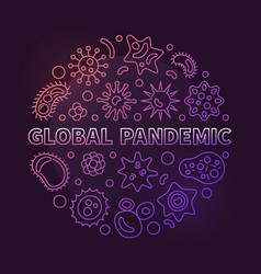 Global pandemic concept circular outline vector