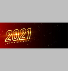 Glowing golden happy new year 2021 on maroon vector