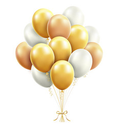 gold and white balloons with ribbon vector image