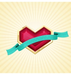 Golden Heart and Ribbon vector image