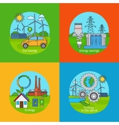 Green energy and ecology concept icons vector