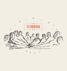 group people hand teamwork friendship drawn vector image