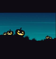 Halloween pumpkin on the hill landscape vector