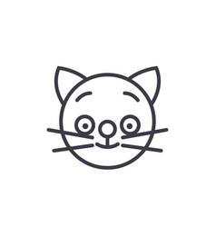 happy cat emoji concept line editable vector image