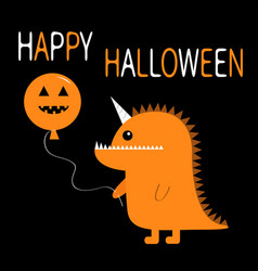 happy halloween orange silhouette monster with vector image