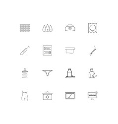 healthcare and medical simple linear icons set vector image