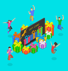 Isometric flat concept gift card vector