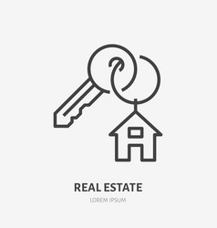 Key with trinket house on ring flat line icon vector