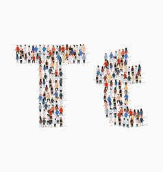 Large group people in letter t form vector