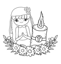 Little girl with candle in first communion vector