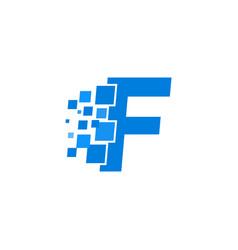 logo letter f blue blocks cubes vector image