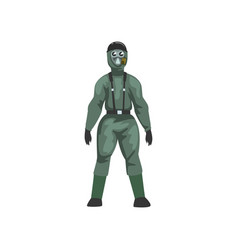 man in protective suit and gas mask military vector image