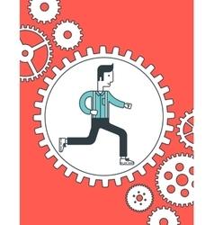 Man running inside the gear vector