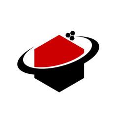 Media hexagon logo design template vector