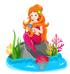 mermaid princess combing her hair vector image