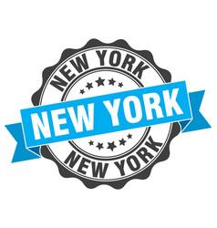 new york round ribbon seal vector image vector image