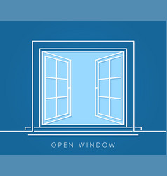 open window line concept blue room logo vector image