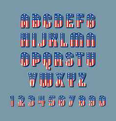 Patriotic font w american flag stars and stripes vector