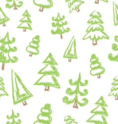 Pattern with christmas tree vector