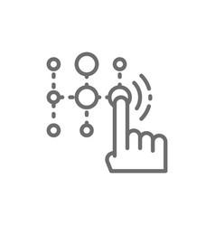Pin code password and unlock identification line vector