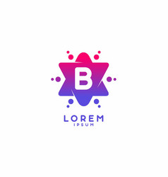 Pink blue gradient color b initial letter vector
