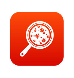 pizza with ingredients on board icon digital red vector image