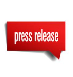Press release red 3d speech bubble vector