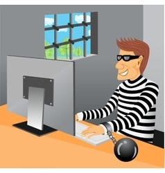 Prisoner sitting in his prison cell vector