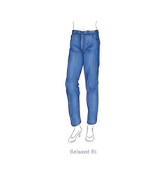 relaxed fit style jeans female denim pants vector image