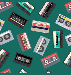 retro cassette tape seamless pattern flat cartoon vector image