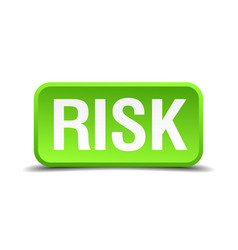 Risk green 3d realistic square isolated button vector