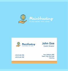 Safe world logo design with business card vector