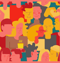 seamless pattern crowd of people heads kissing vector image