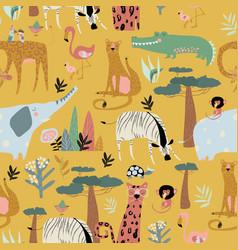 Seamless pattern wild animals on yellow vector