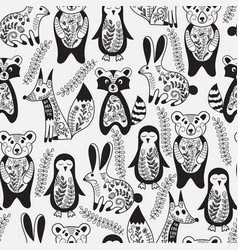 Seamless pattern with animals and spring branches vector