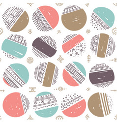 Seamless pattern with ethnic tribal boho circles vector