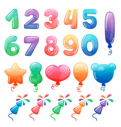 set color cartoon numbers balloons and vector image