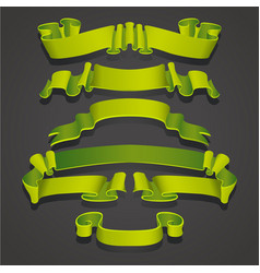 set of realistic green ribbons element of vector image