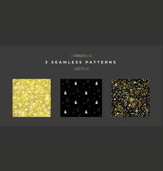 set three christmas seamless textures vector image