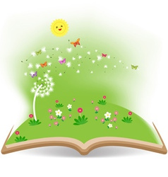 Spring with dandelion in the book vector