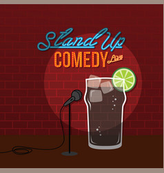 Stand up comedy open mic coke cola drink vector