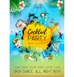 summer cocktail party poster design cocktail menu vector image