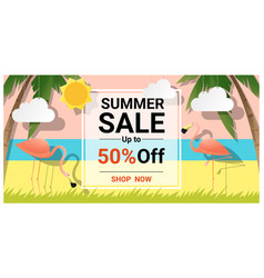 Summer sale background with two pink flamingos vector